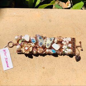 Betsey Johnson Rose Gold Butterfly Toggle Bracelet